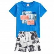 Conjunto Verão Brandili Club Camiseta Surf Town com Bermuda Microfibra - 4 ao 10