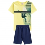 Conjunto Verão Brandili Club Camiseta Surfista Vacations Good Vibes Only com Bermuda - 4 ao 10