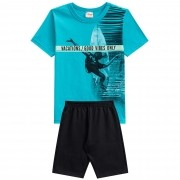 Conjunto Verão Brandili Club Camiseta Surfista Vacations Good Vibes Only com Bermuda - 4 ao 10