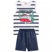 Conjunto Verão Brandili Club Regata Komb Traveller Boy com Bermuda - 4 ao 10