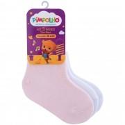 Kit Meia Infantil Pimpolho Lisa com 3 pares - 16 ao 20