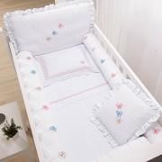 Kit para Berço com Bordado 8 peças Incomfral Baby Joy - Borboletas