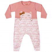 Macacão Suedine Kiko Baby Estampa Gata e Listras - RN ao M