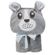 Manta com Capuz Microfibra Liso com Bordado - Incomfral - Baby Joy - Urso - Cinza