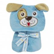 Manta com Capuz Microfibra Liso com Bordado - Incomfral - Baby Joy - Cão - Azul