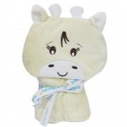 Manta com Capuz Microfibra Liso com Bordado - Incomfral - Baby Joy - Girafa - Off White