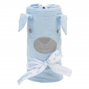 Manta Light Malha Lisa com Bordado - Incomfral - Baby Joy - Azul