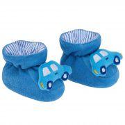 Pantufa Bichinhos Pimpolho Carro Azul - 0 a 7 Meses