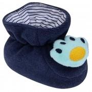 Pantufa Bichinhos Pimpolho - Patinha de Urso Azul Escuro - 0 a 7 Meses