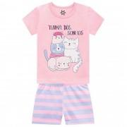 Pijama Verão Brandili Blusinha e Shorts Turma dos Sonhos - Brilha no Escuro - 1 ao 3
