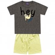 Pijama Kiko e Kika Camiseta e Bermuda de Meia Malha - Hey Bedtime - 01 ao 03