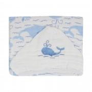 Toalha Swaddle com capuz - Minasrey - Filhotes Soft - Baleia - Azul