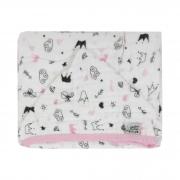 Toalha de banho com capuz Soft - Minasrey - Reininho Encantado - Rosa