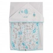 Toalha de Banho Incomfral Fisher-Price - Elefante - Azul Claro