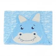 Toalha de Felpa Estampada - Minasrey - Carinhas - Hipopótamo - Azul