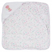 Toalha de Plush com Puff no Capuz Estampa Balões Rosa - Incomfral - Bambi Malhas