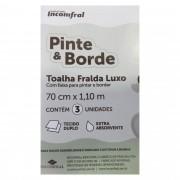 Toalha Fralda com 3 unidades - Incomfral - Pinte e Borde - Rosa