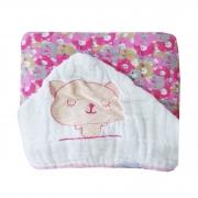 Toalha Soft com Capuz de Centro Bordada - Incomfral - BabyJoy - Ursos Rosa