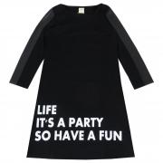 Vestido Inverno Pic Nic Estampa Life It's a Party so Have a Fun Ponto Roma Cirre - 14 ao 18