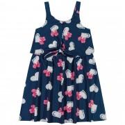 Vestido Verão Romitex Kely Kety Corações com Laço - 4 ao 10