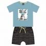 Conjunto Verão Kiko e Kika Camiseta e Bermuda - Cão What's Up? I'm Cool And Smart - 1 ao 3
