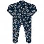 Macacão Pijama Inverno Vrasalon Soft Urso Sentado Lua Olhando Estrelas - 01 ao 03