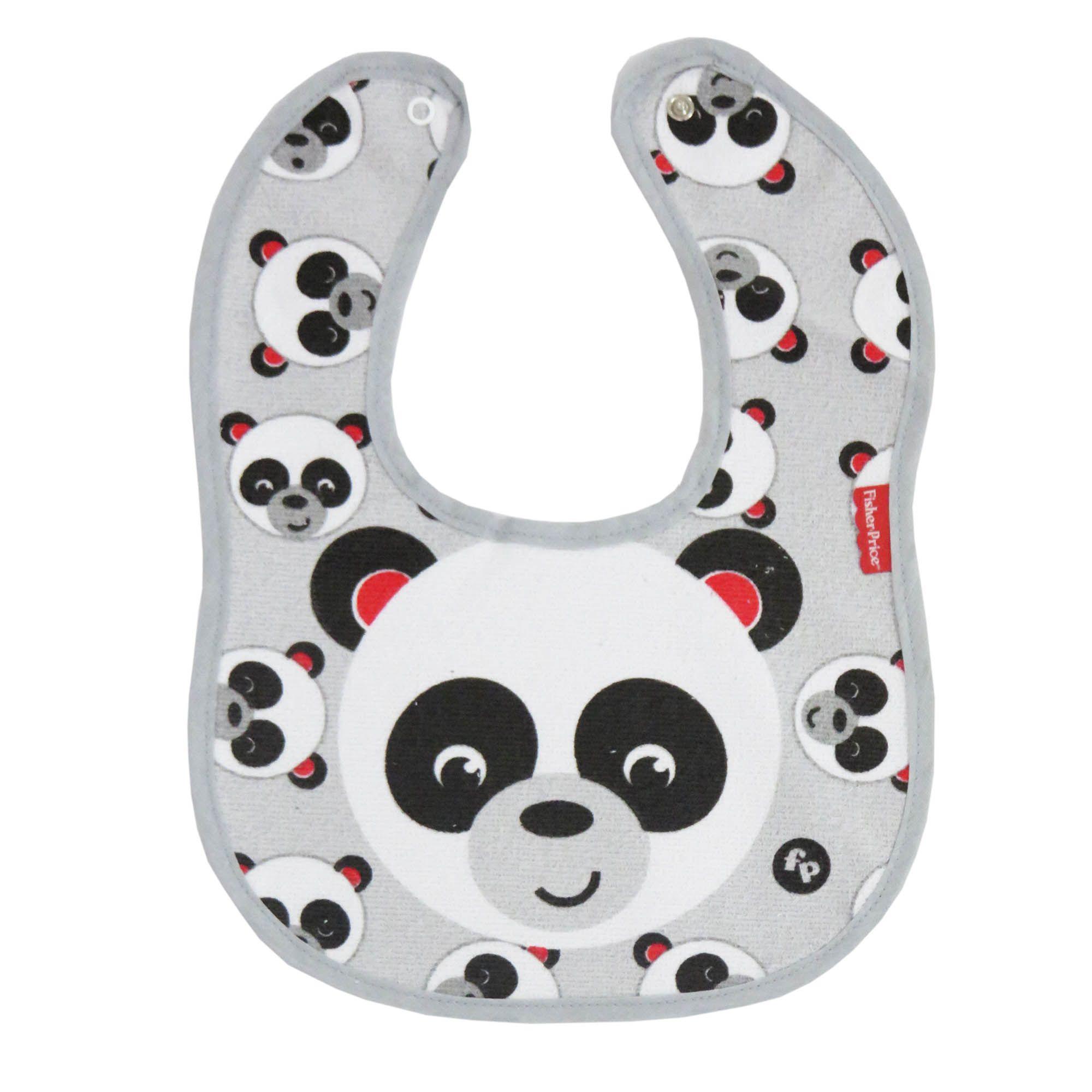 Babador Incomfral Fisher-Price - Anatômico Impermeável – Panda - Cinza Claro