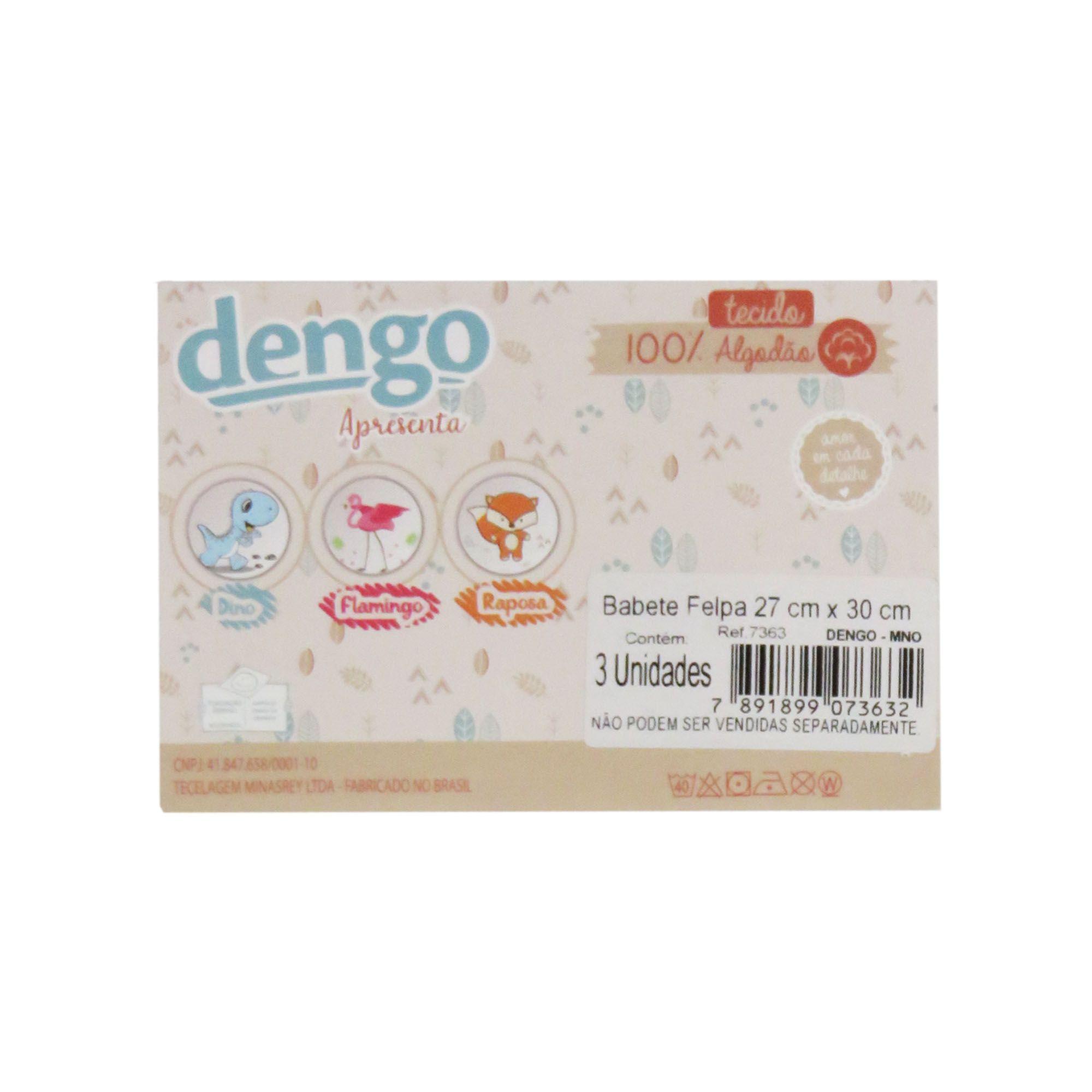 Babete felpa com 3 Unidades -Minasrey - Dengo