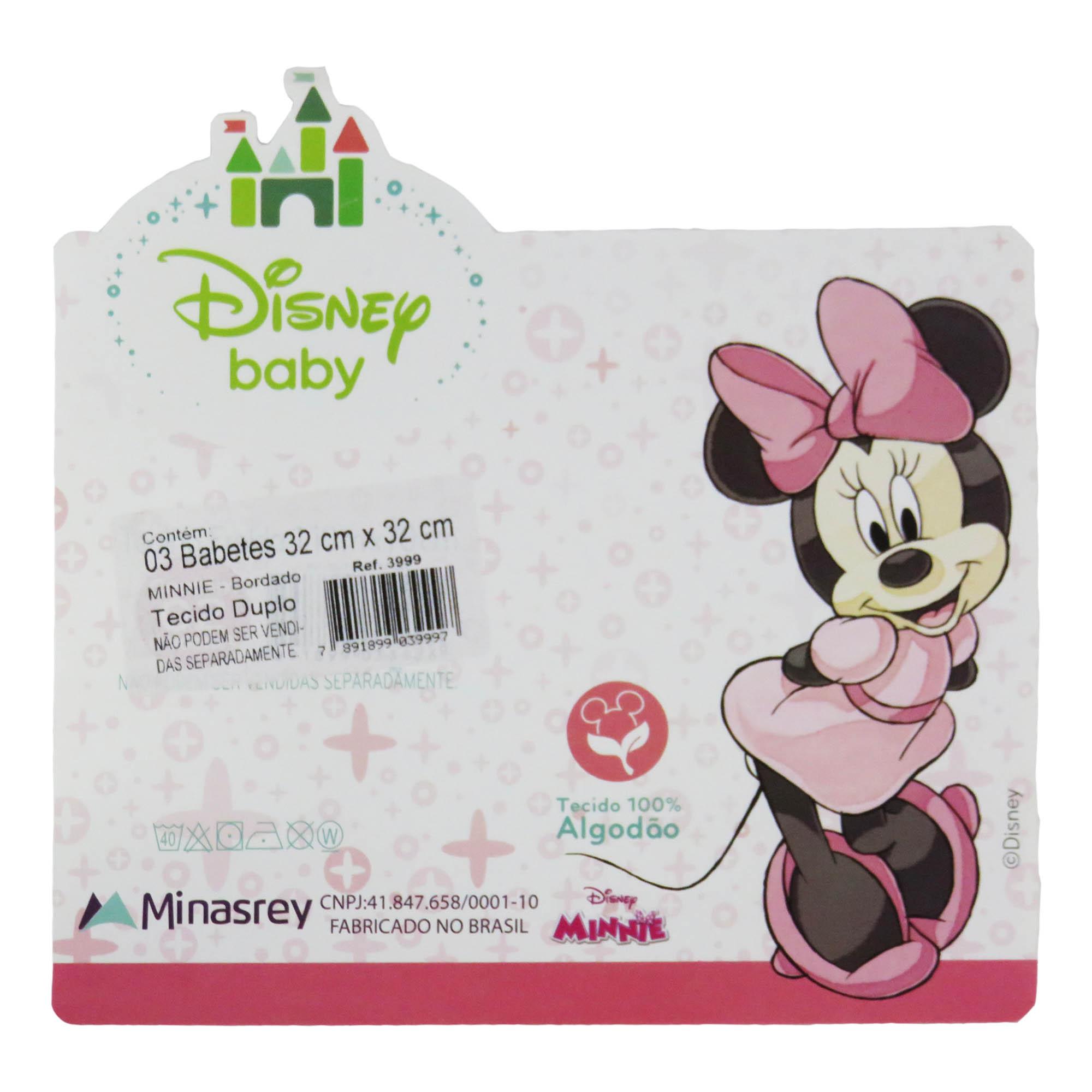 Babete Fralda Bordada - Minasrey - Disney Bordada - Rosa