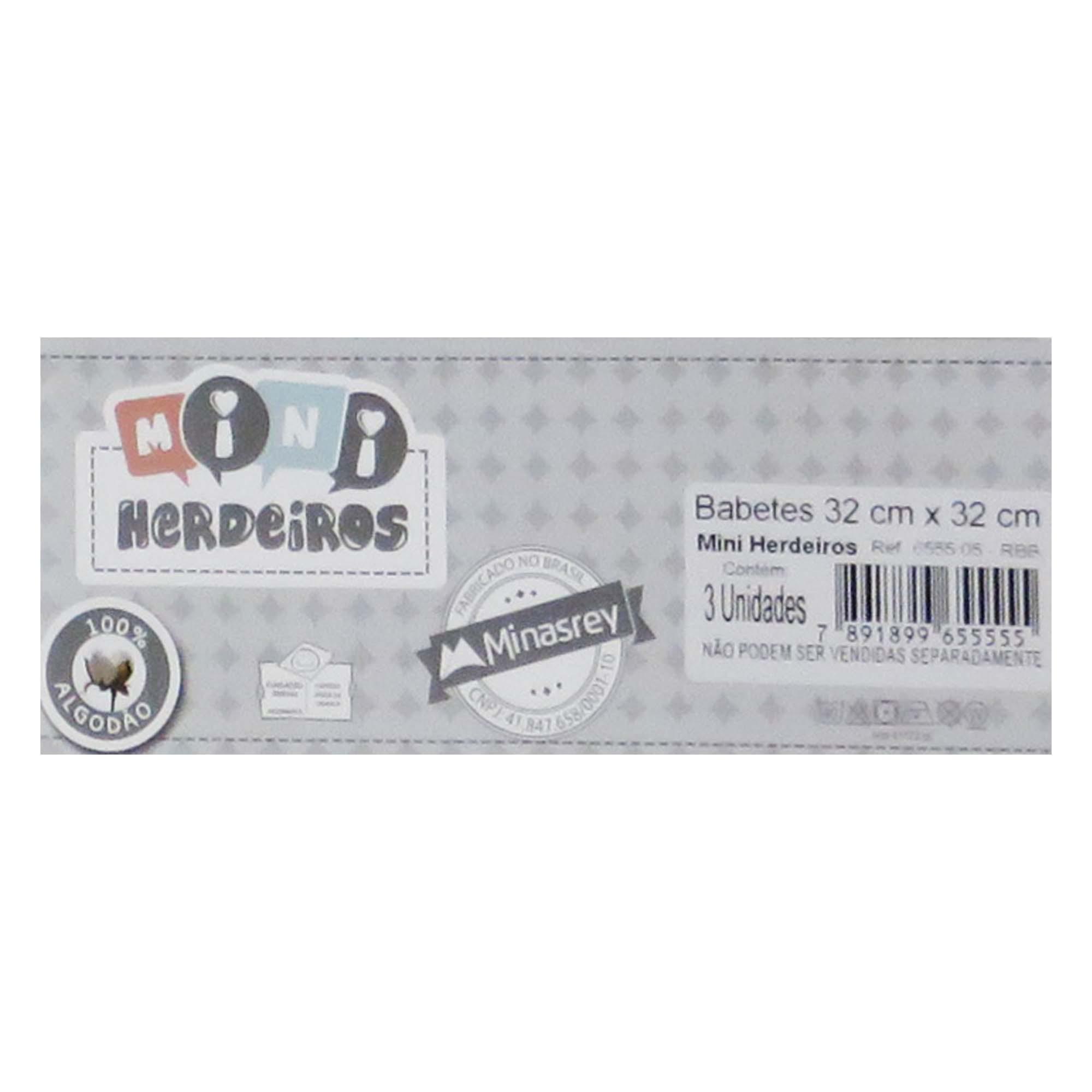 Babete Fralda Bordada Urso Balão  com 3 unidades - Minasrey - Mini Herdeiros