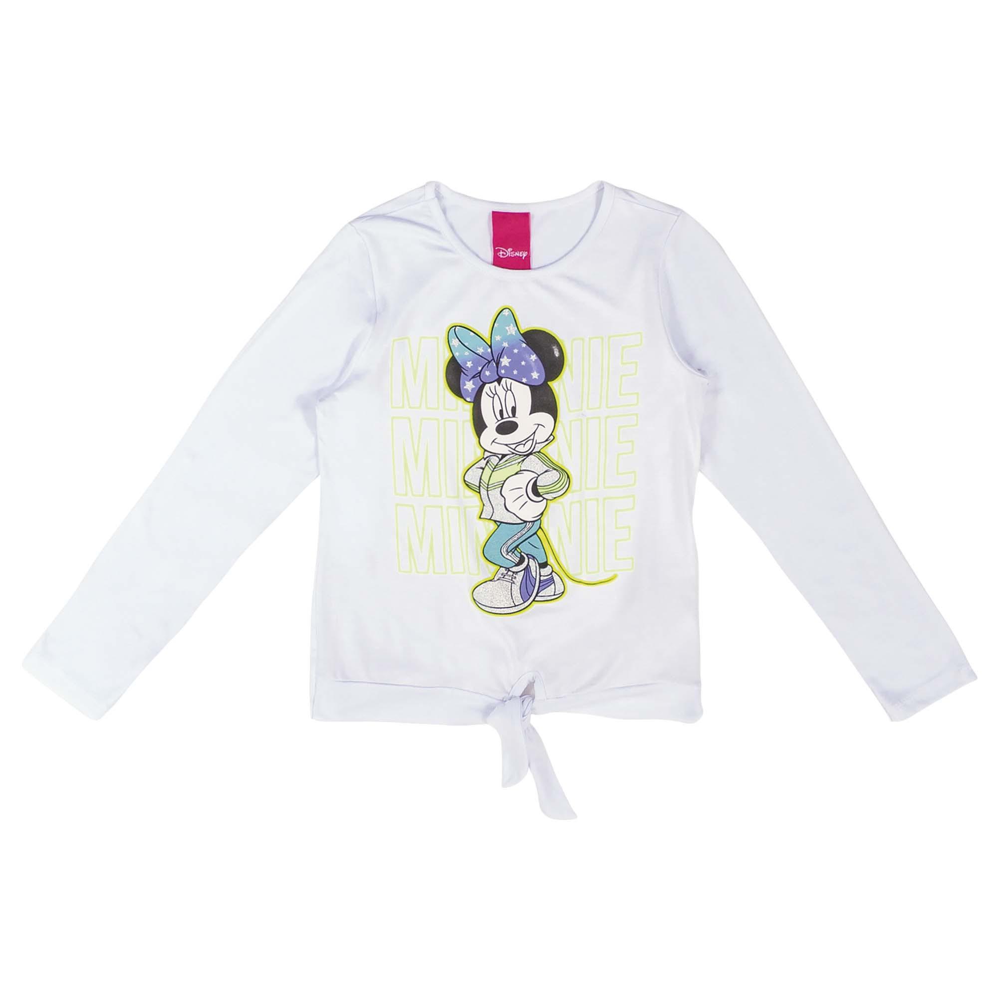 Blusa Manga Longa Cativa Estampa Glitter e Relevo Minnie com Amarração Frontal - 4 ao 10