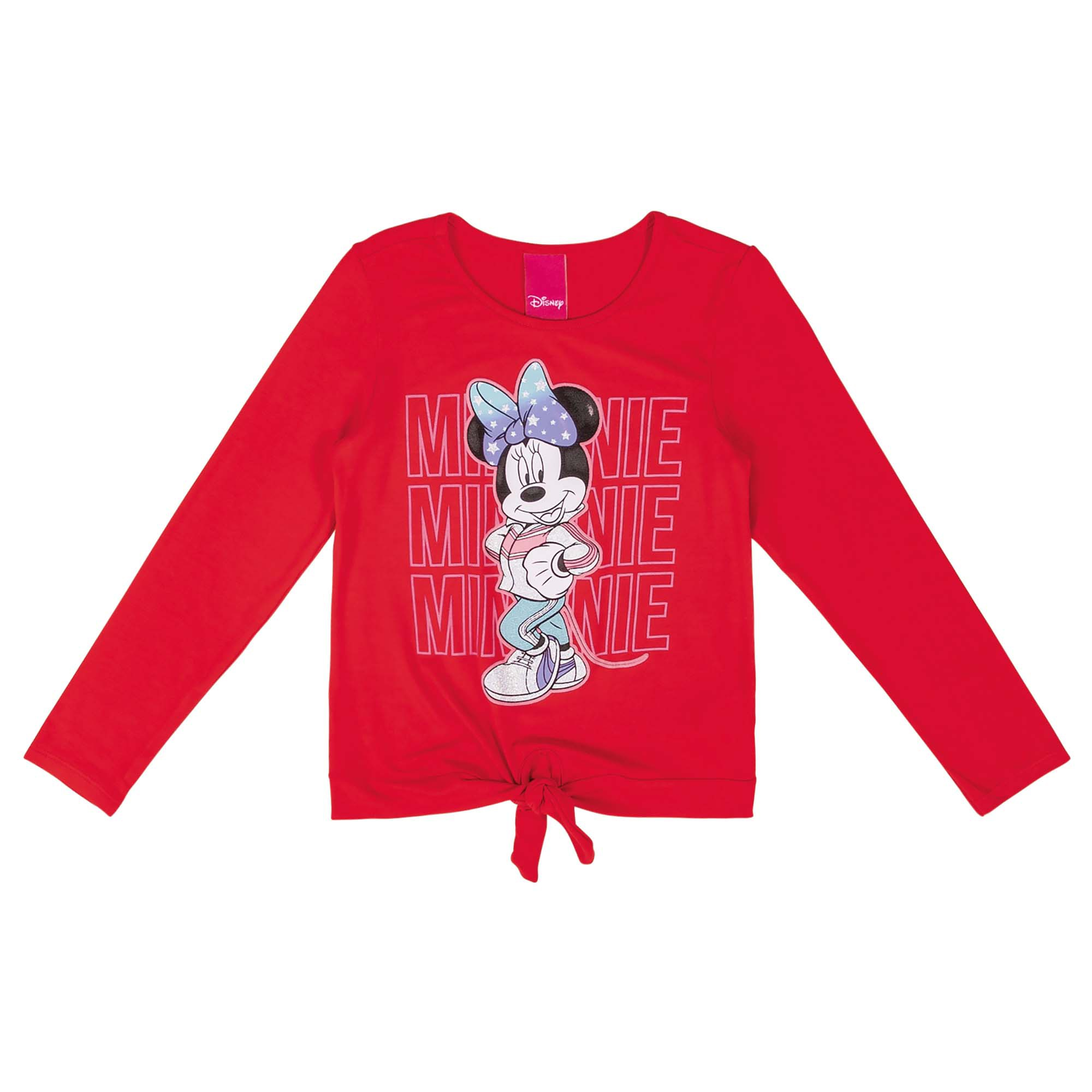 Blusa Cativa Estampa Glitter e Relevo Minnie com Amarração Frontal - 4 ao 10