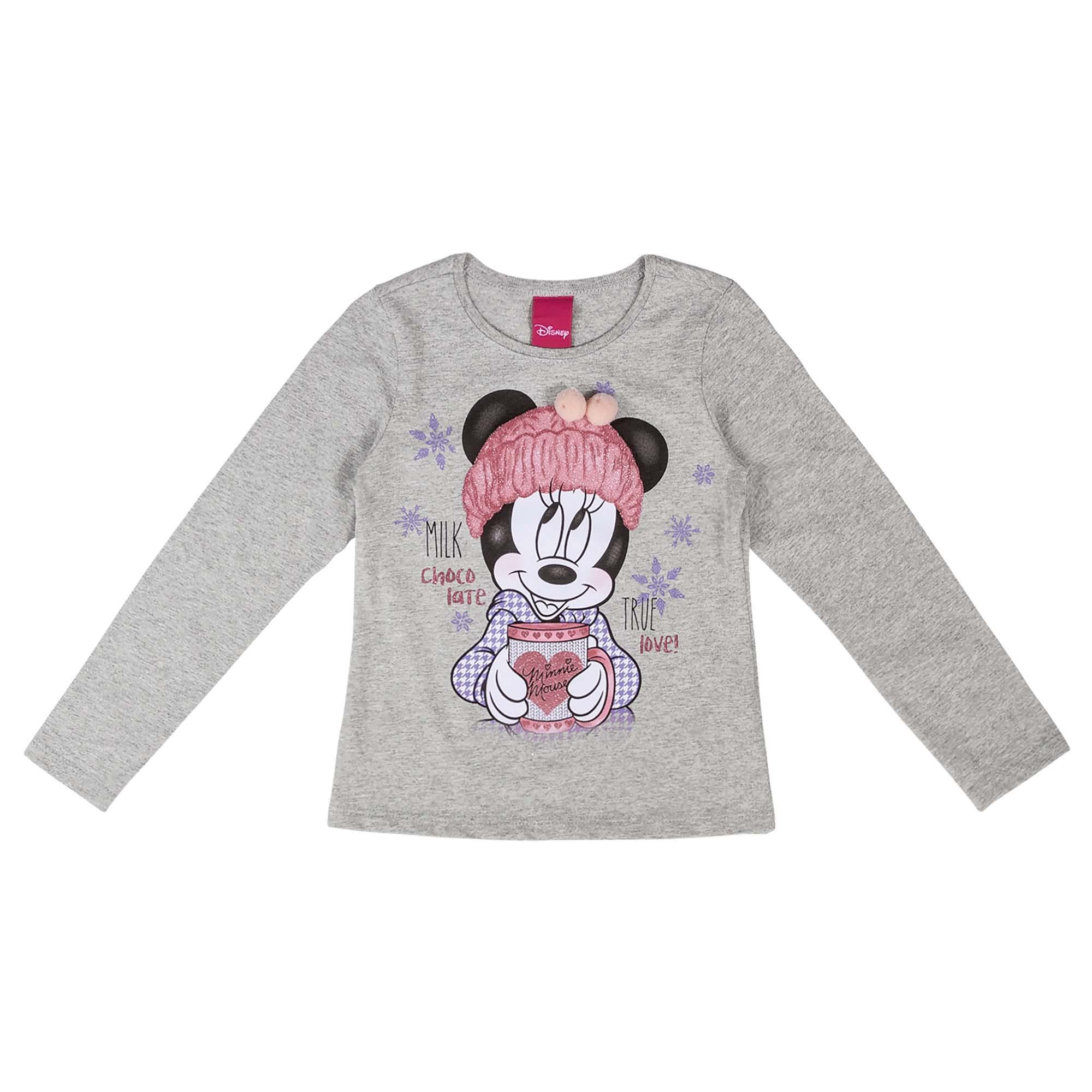 Blusa Manga Longa Cativa Estampa Glitter Minnie com Copo e Gorro com Pompom Decorativo - 4 ao 10