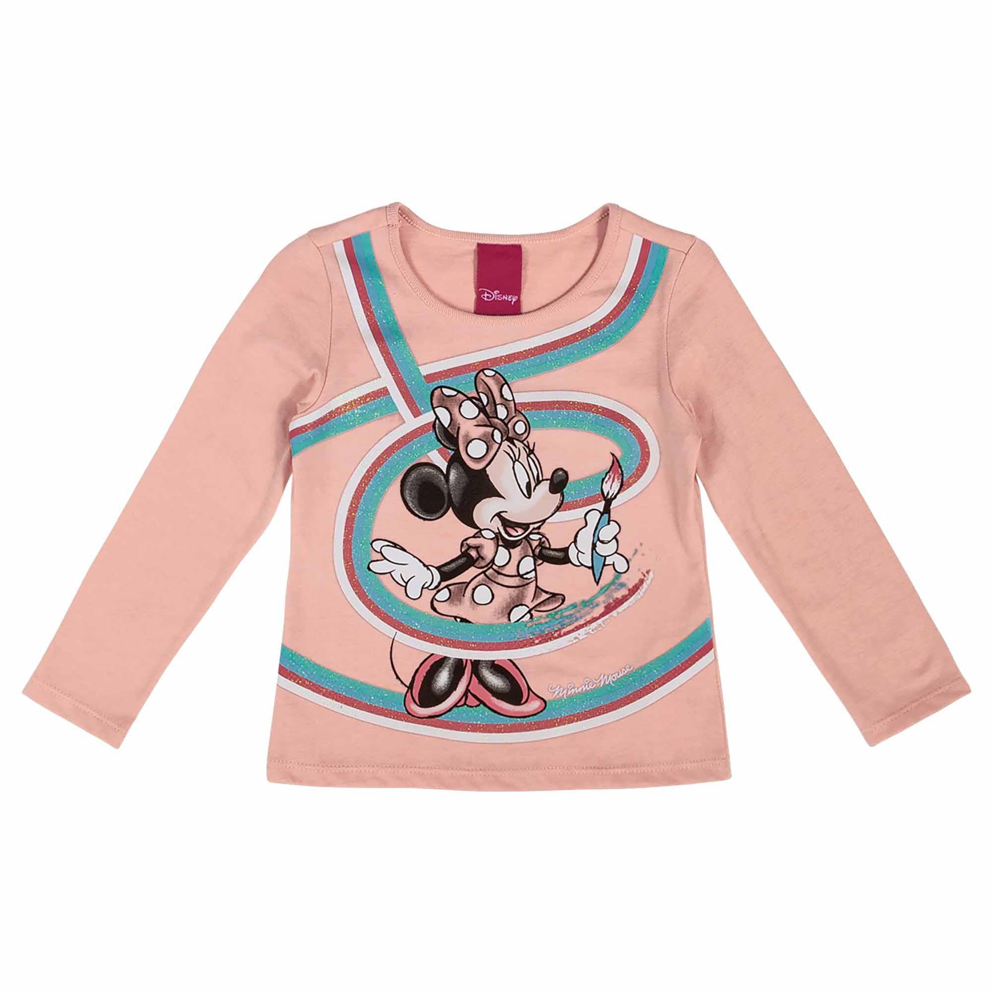 Blusa Manga Longa Cativa Estampa Glitter Minnie Pintando com Pincel - 1 ao 3