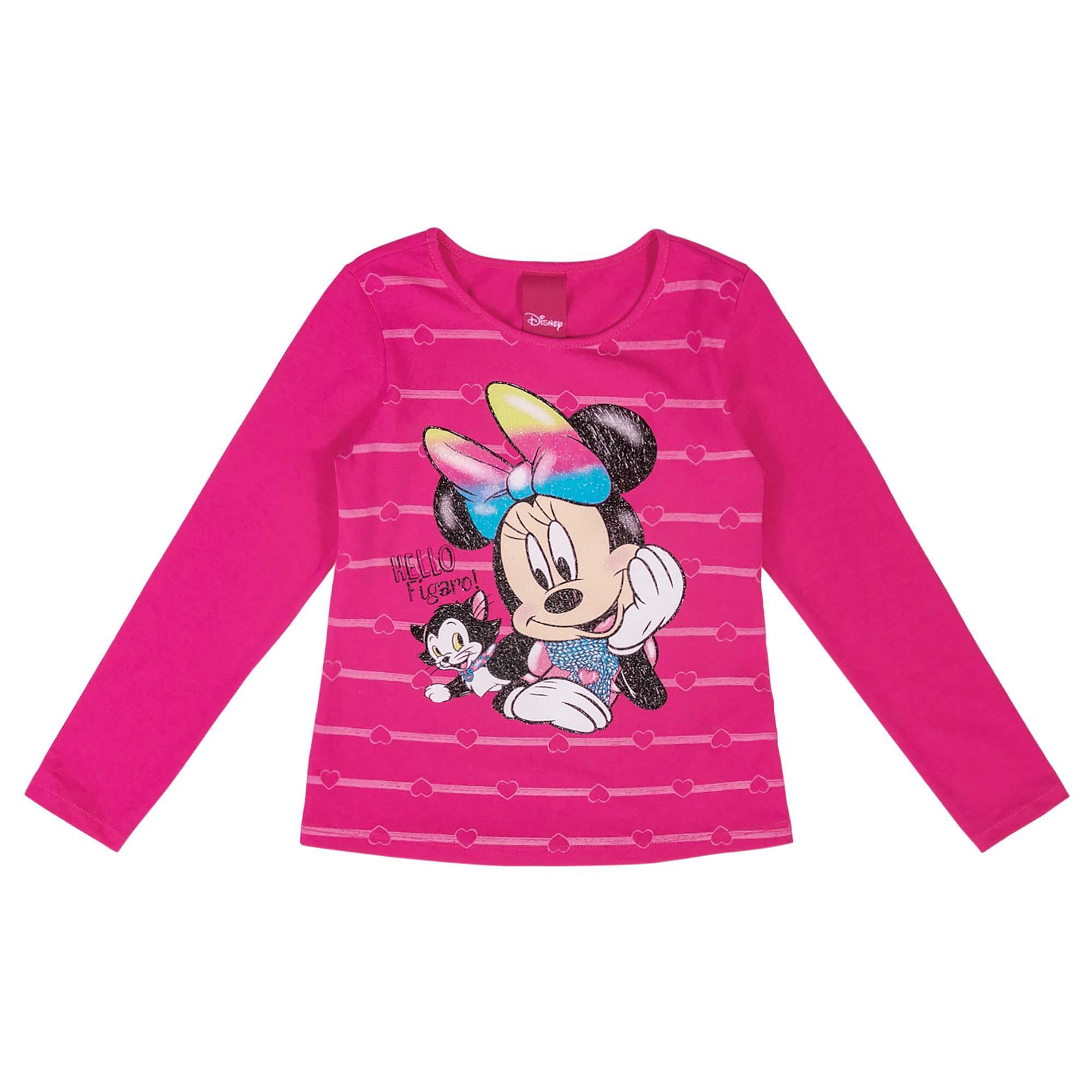 Blusa Manga Longa Cativa Estampa Listras e Glitter Minnie e Gata Hello Figaro! - 6 ao 10