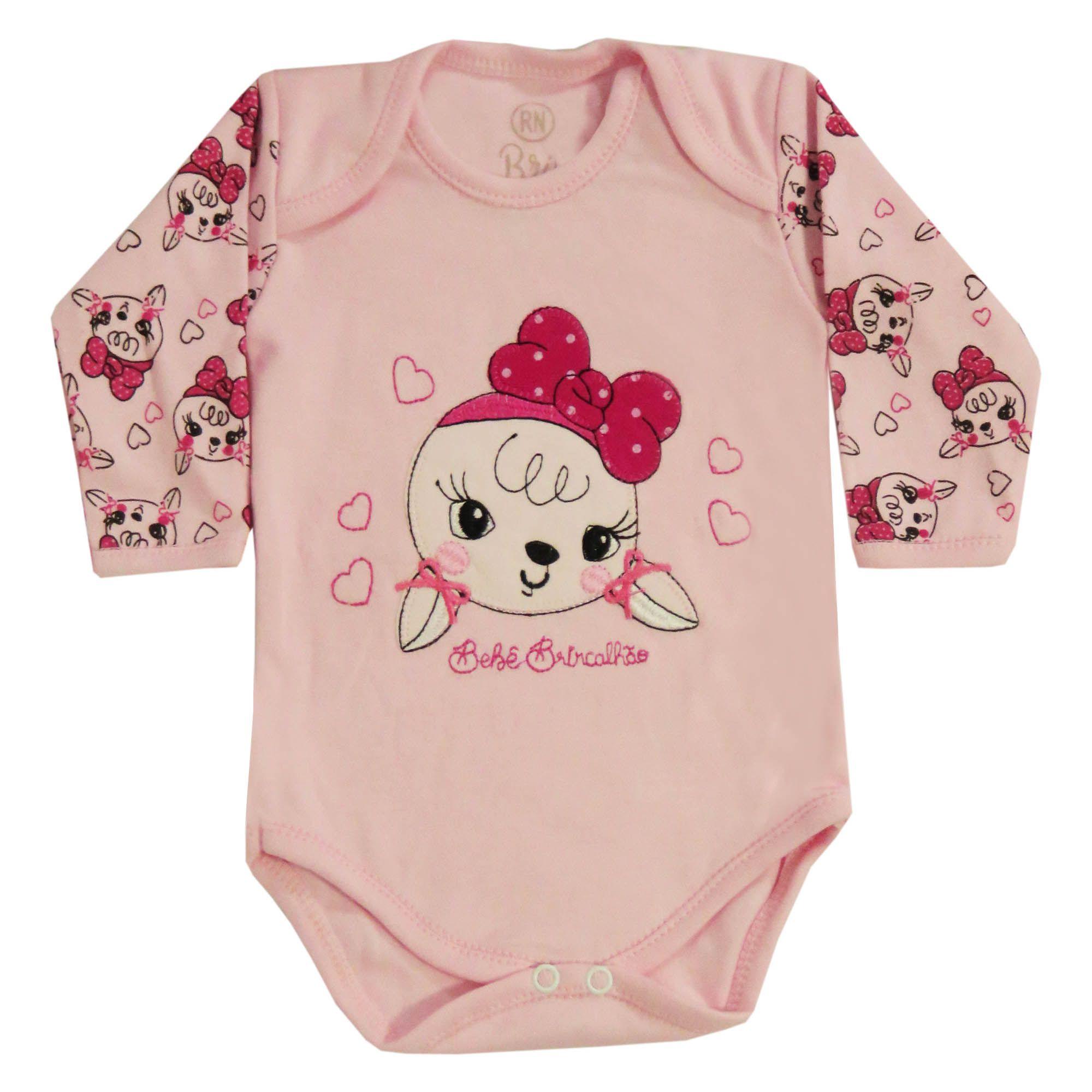 Body Manga Longa Bebê Brincalhão Bordado Coelha - RN ao G