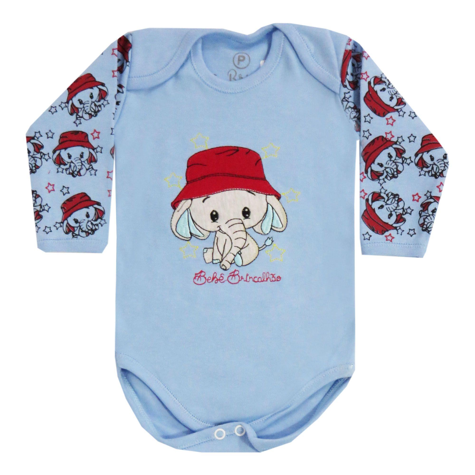 Body Manga Longa Bebê Brincalhão Bordado Cachorrinho, Elefantinho, Gatinho - Rn ao G