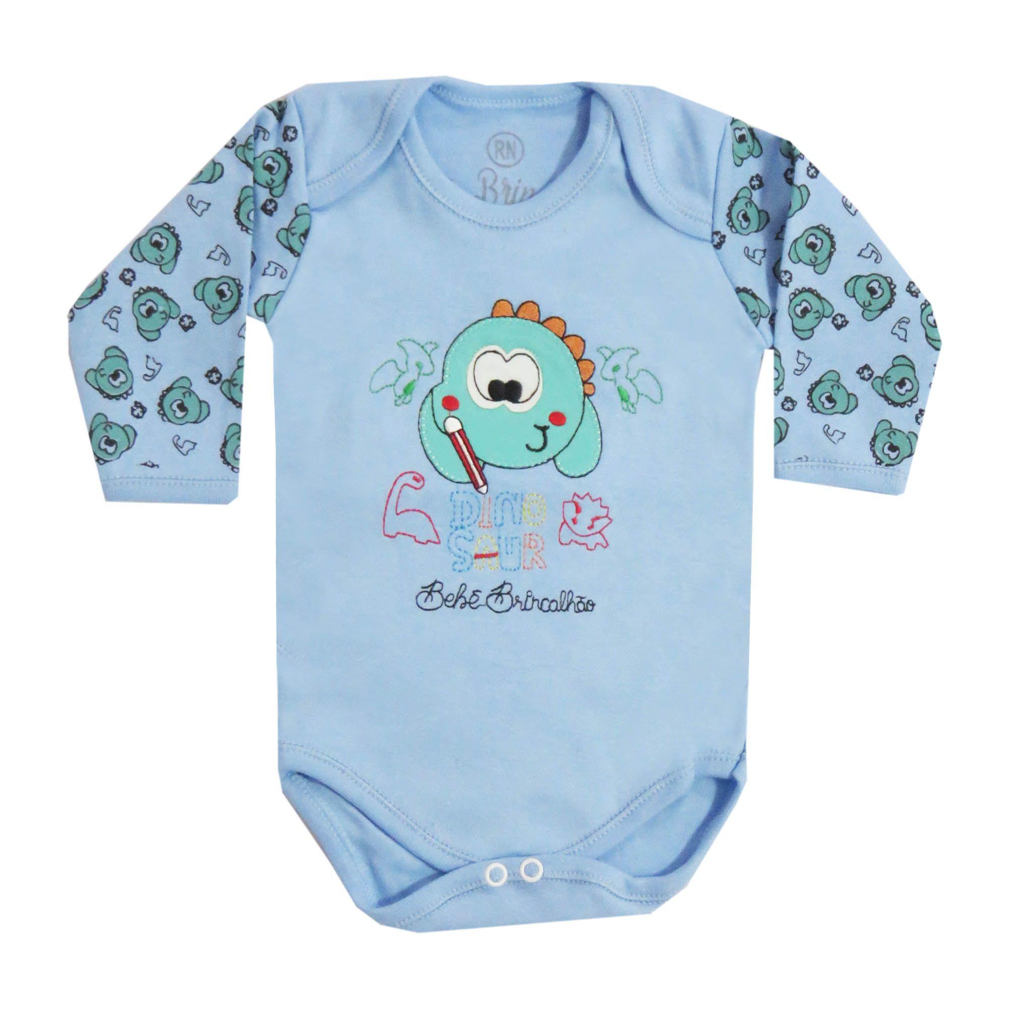 Body Bebê Brincalhão Bordado Dinossauros - Rn ao G