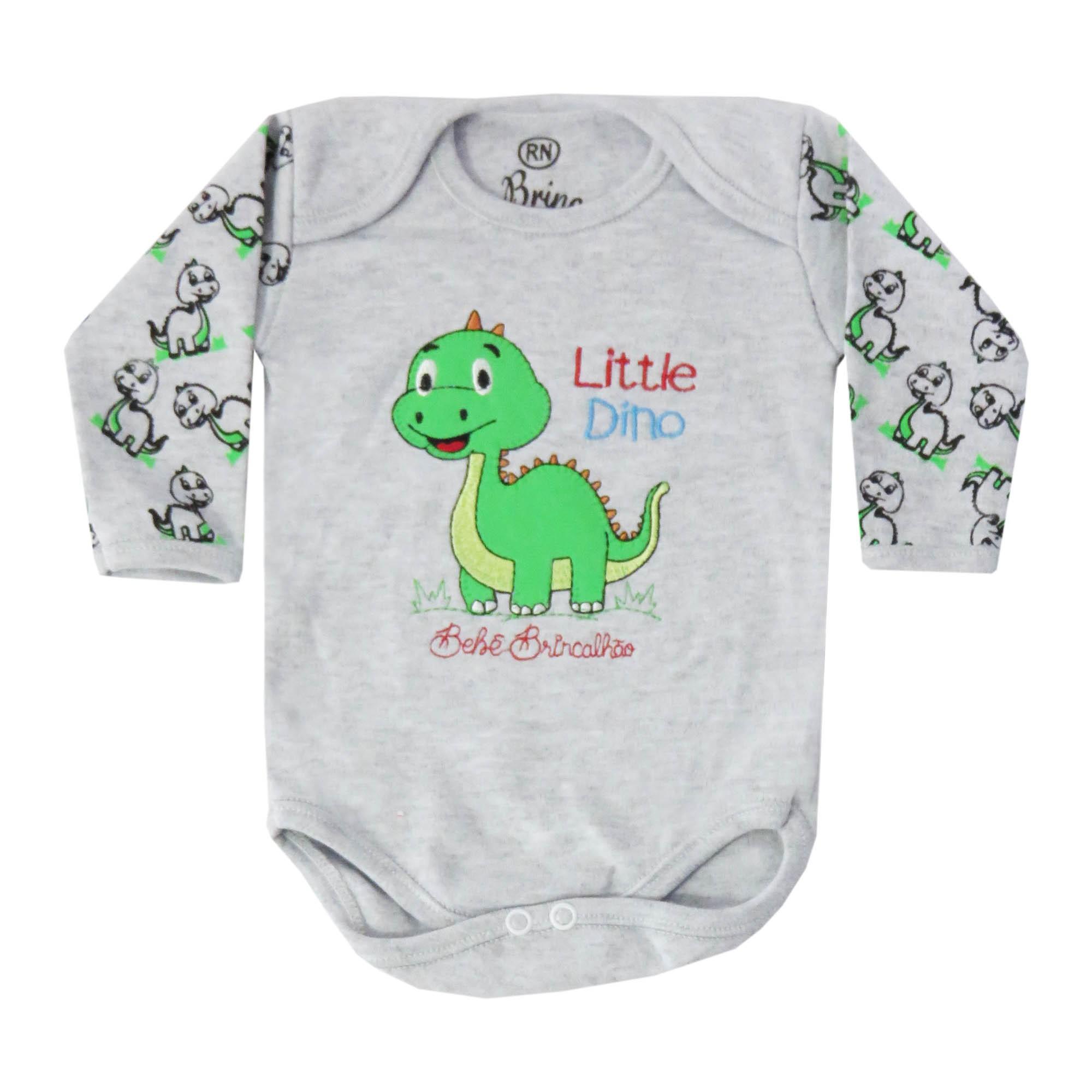 Body Manga Longa Bebê Brincalhão Bordado Dinossauros - Rn ao G