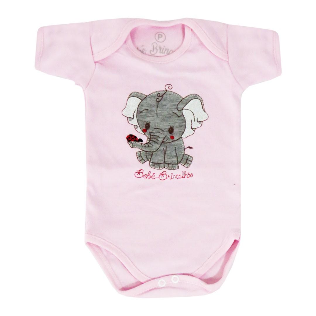 Body Meia Manga Bebê Brincalhão Bordado - Tartaruga - Elefante - Peixinho - P ao M