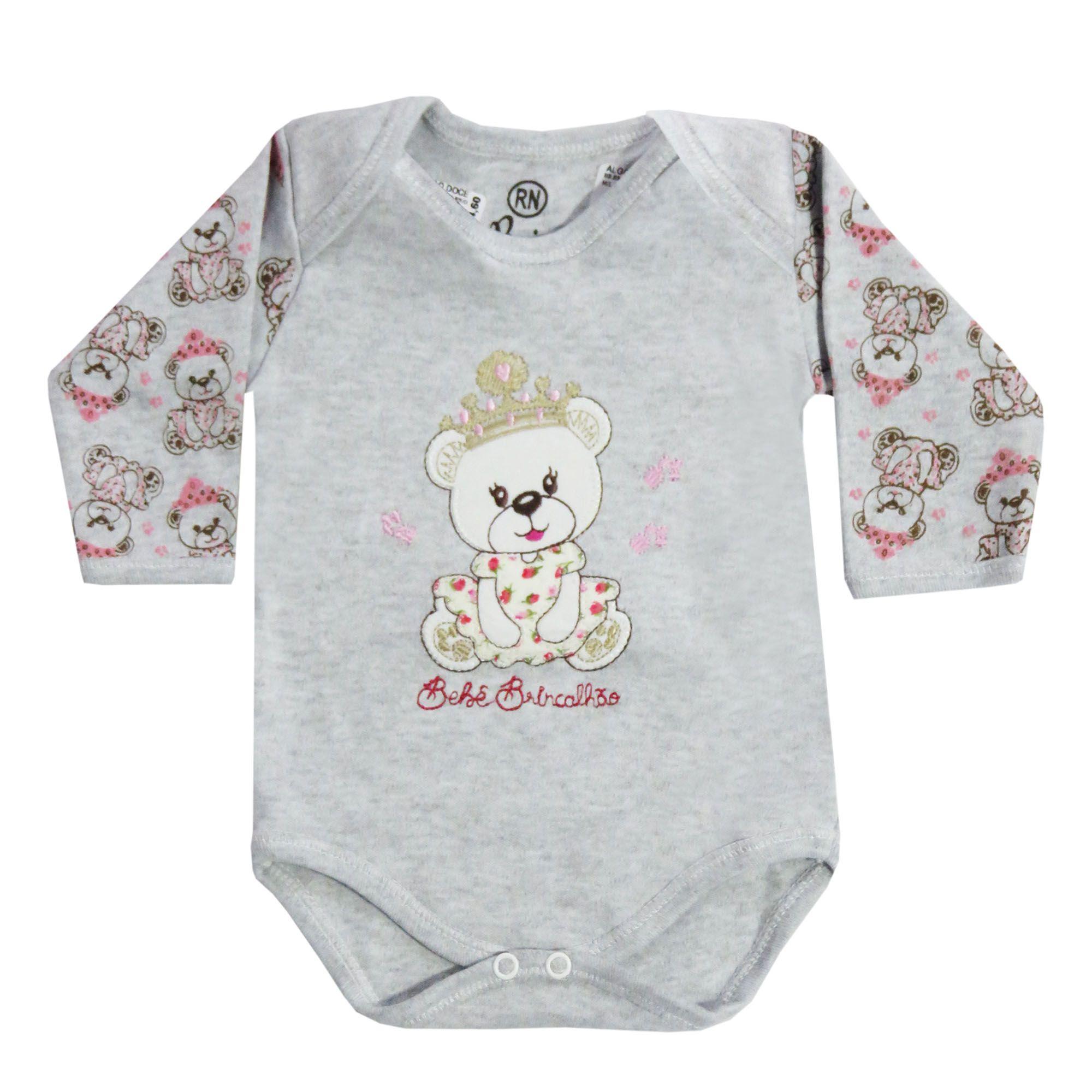 Body Manga Longa Bebê Brincalhão Bordado Ursa com Coroa - RN ao G