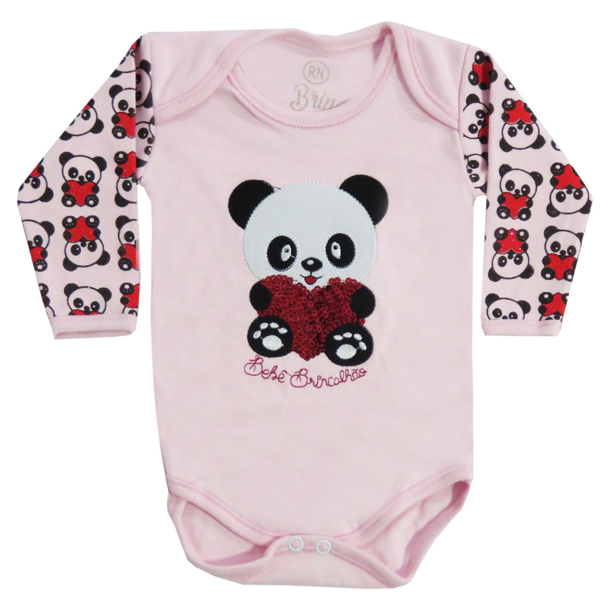 Body Bebê Brincalhão Bordado Ursa, Gata, Panda com Aplicação Lantejoulas - RN ao G