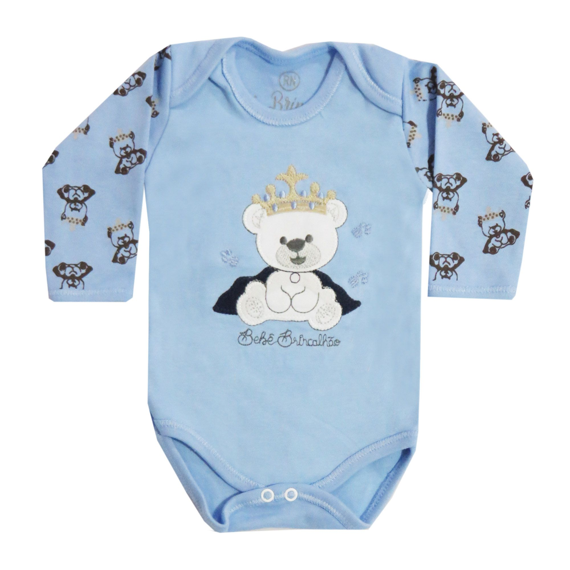 Body Manga Longa Bebê Brincalhão Bordado Urso Real - Rn ao G