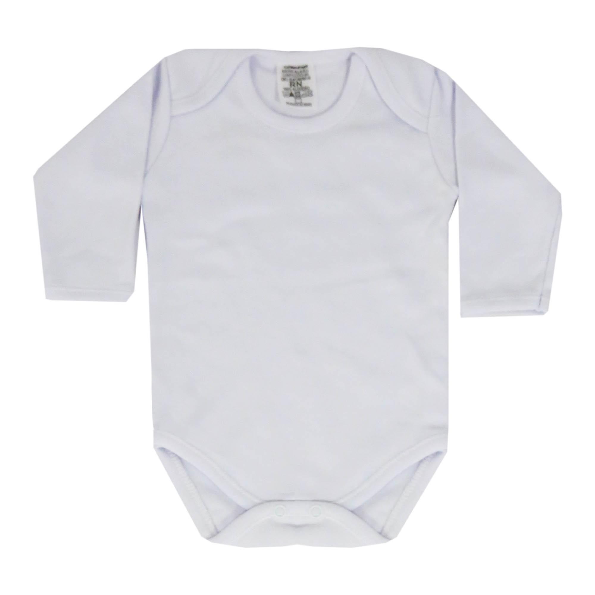 Body Manga Longa Bebê Brincalhão Branco Liso - RN