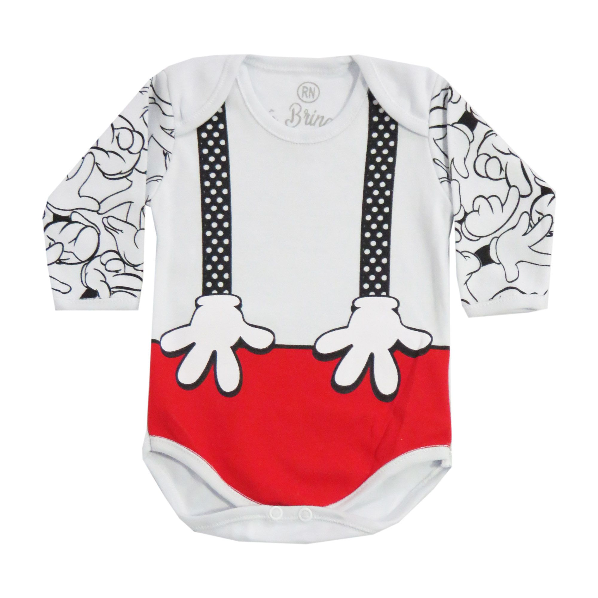 Body Manga Longa Bebê Brincalhão Estampa de Suspensório - Rn ao G