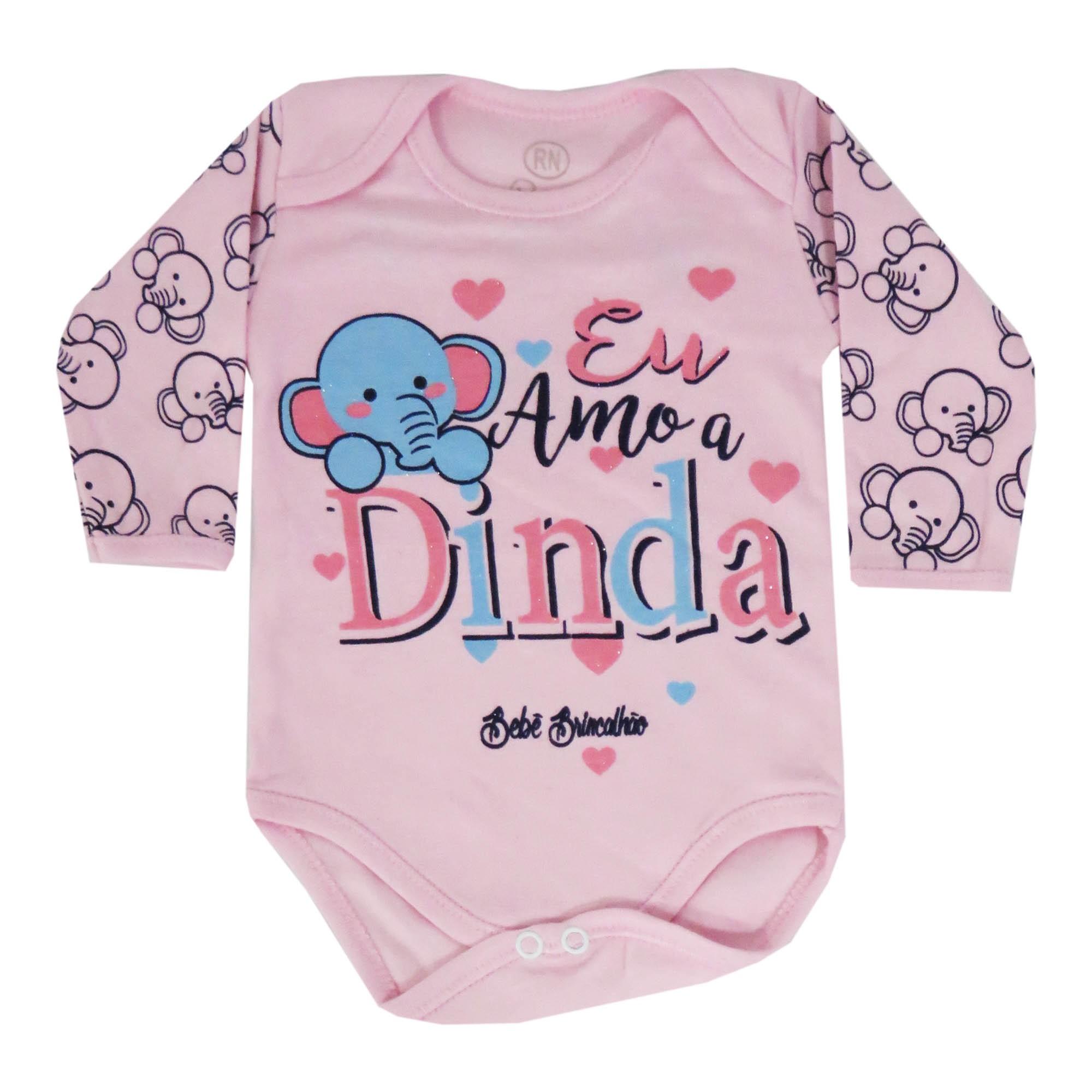 Body Manga Longa Bebê Brincalhão Estampa Eu Amo a Dinda - RN ao M