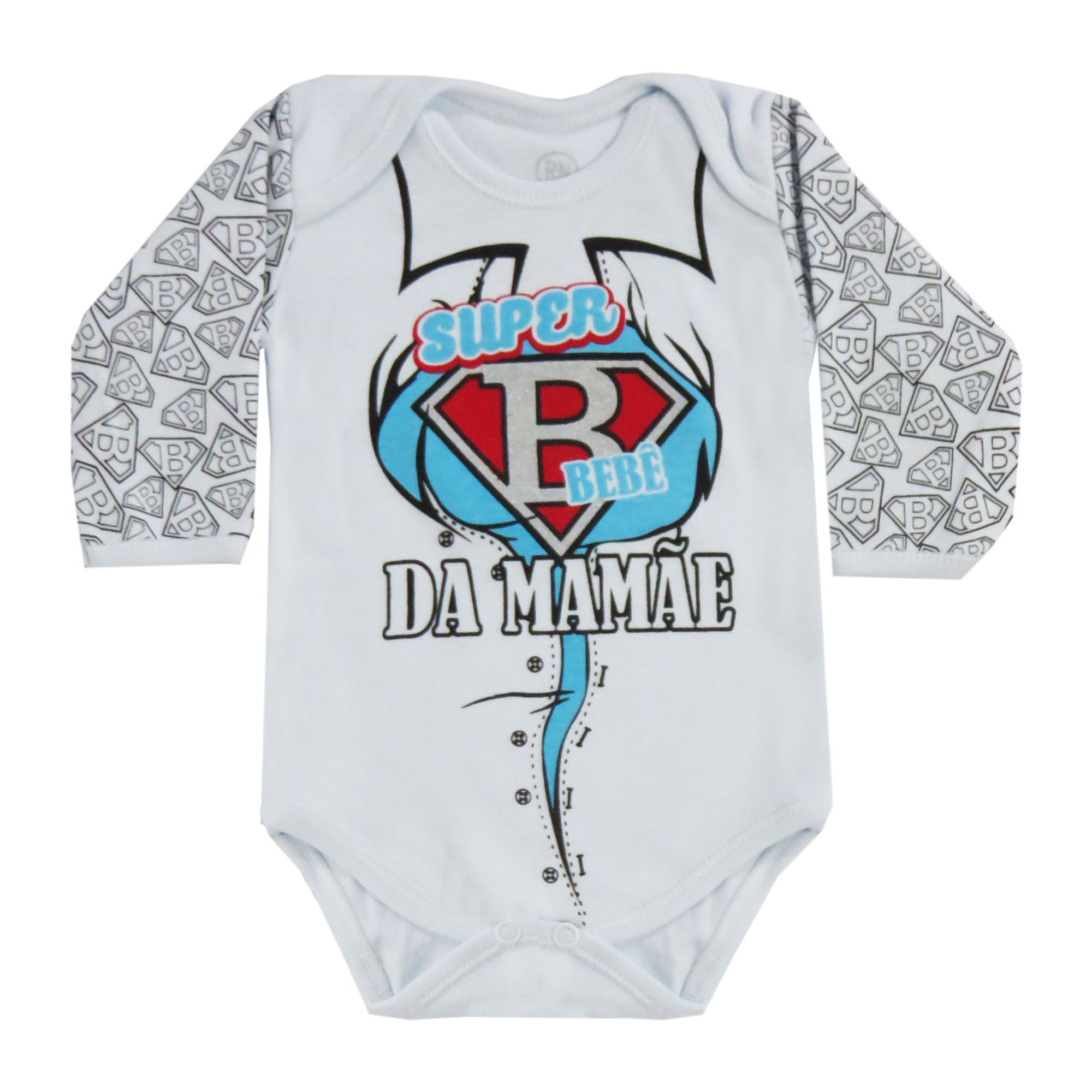 Body Manga Longa Bebê Brincalhão Estampa Heróis da Mamãe - Rn ao G