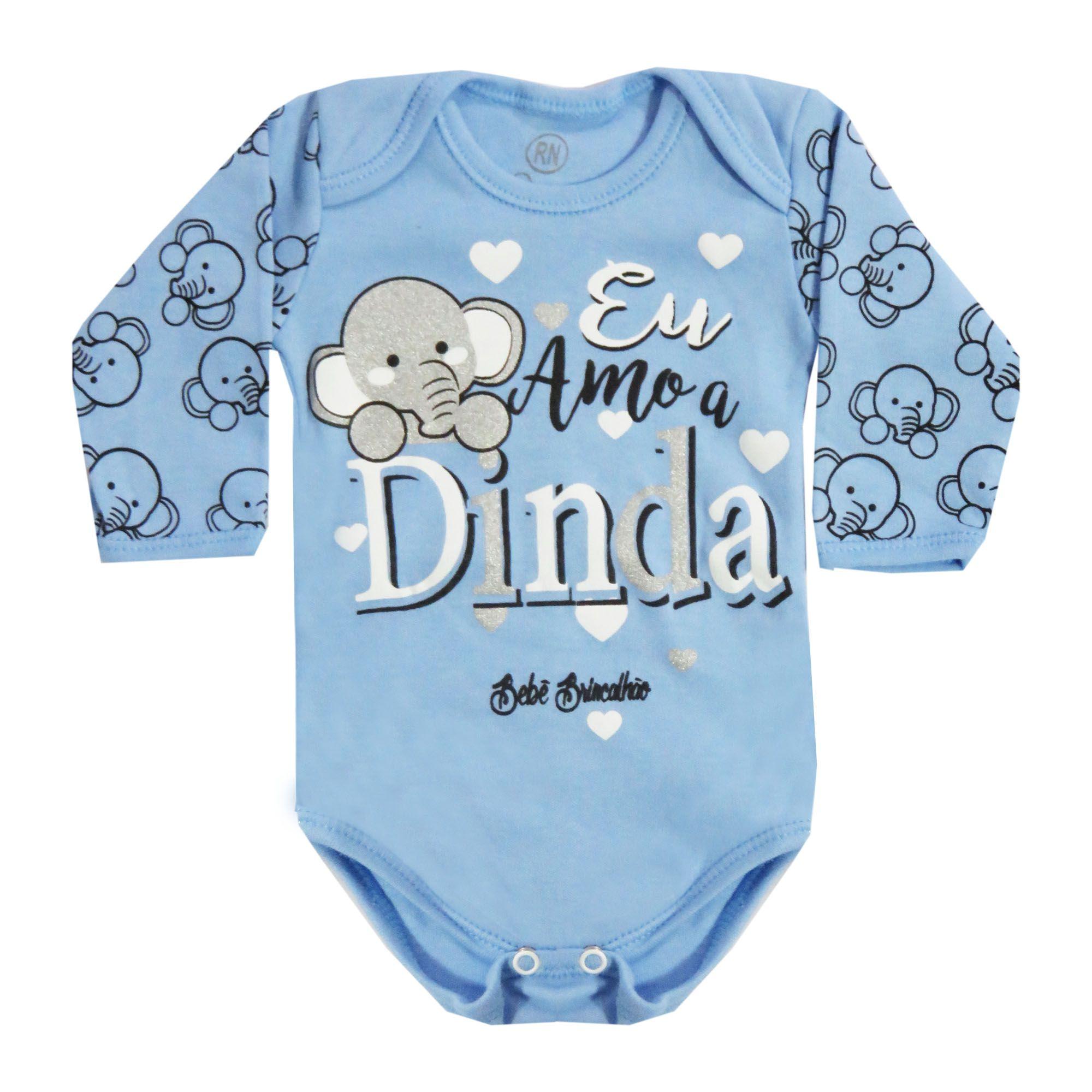 Body Manga Longa Bebê Brincalhão Frases Eu Amo a Dinda - Rn ao G