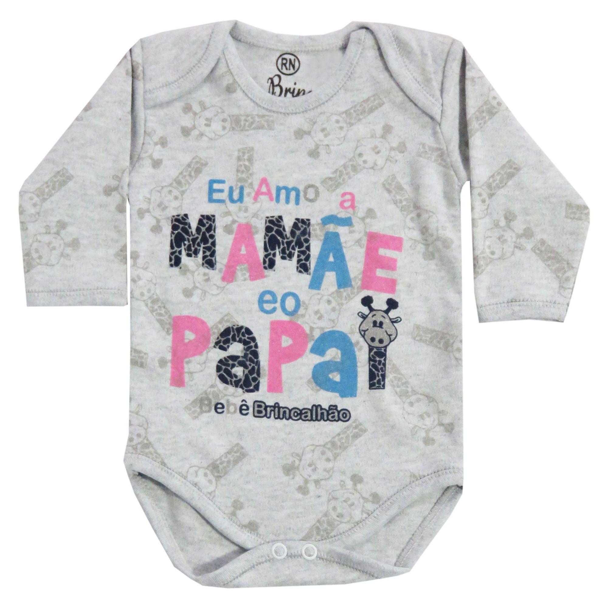 Body Manga Longa Bebê Brincalhão Frases Eu Amo a Mamãe e o Papai - RN ao G