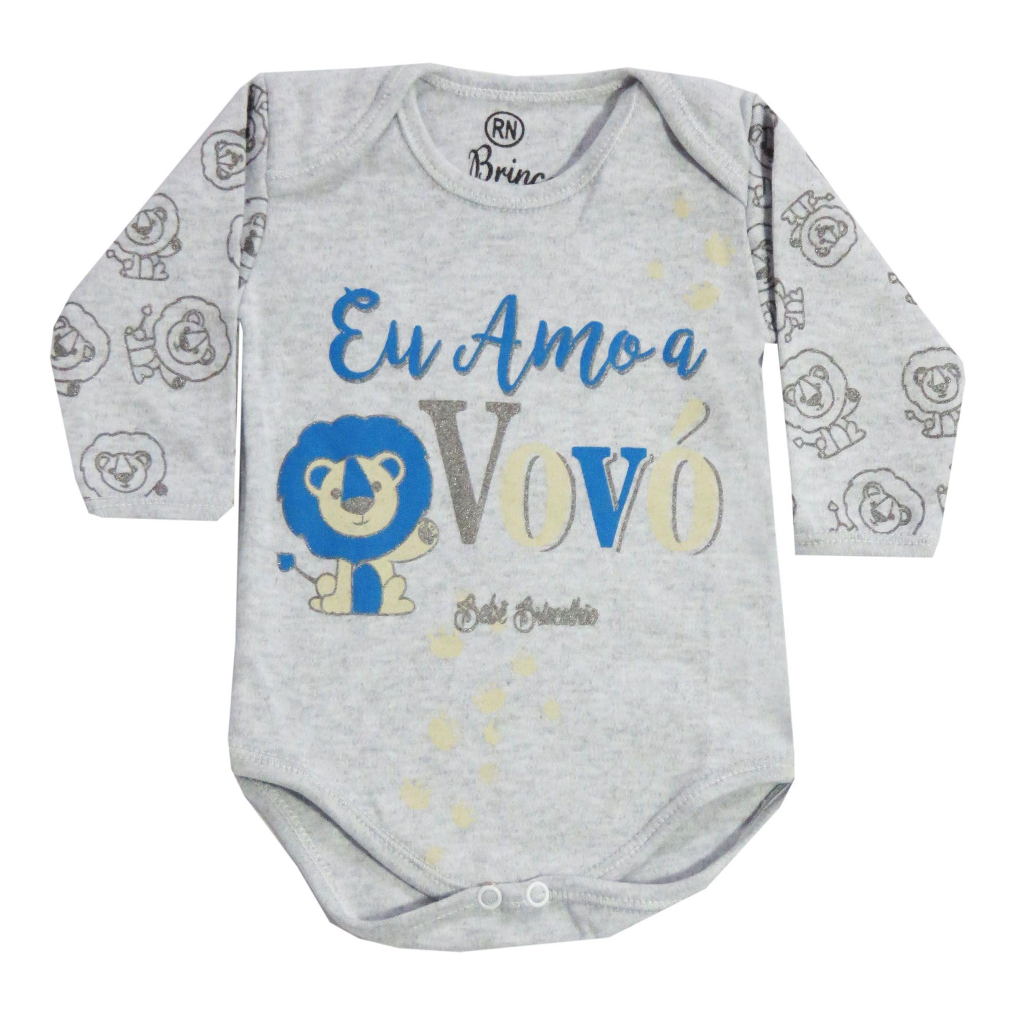 Body Bebê Brincalhão Frases Eu Amo a Vovó - Rn ao G